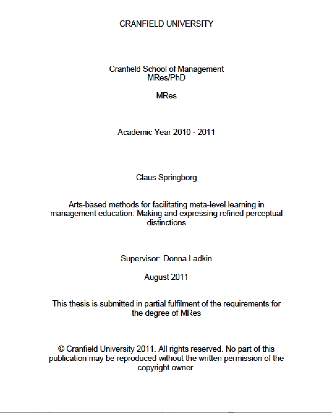 Arts-based methods for facilitating meta-level learning in management education